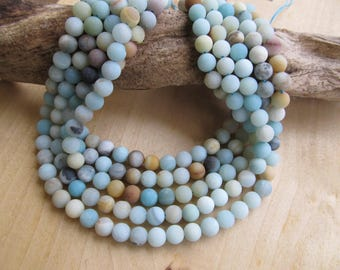 Set of 10 round beads 8 mm diameter natural frosted amazonite stone.