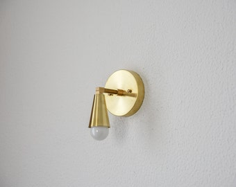 Wall Sconce Single Light with Cone Cover Vanity Gold Brass Modern Abstract Mid Century Light Bathroom UL Listed