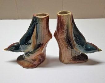 Vintage Pair Bird Vases  Bird On Tree Trunk Bud Vases