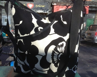 Black and White Floral Print Market Bag, Cross Body Cotton Shoulder Bag, Tote Bag