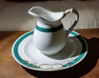 Pitcher and Plate Ovington Brothers Brooklyn Vintage Teal Gilded