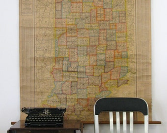 Vintage School Pull Down Map of Indiana by Cram 1920s School House Wall Map and Charts Indiana Counties Deco Industrial Historical Decor