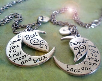 Best Friends Set of 2 I Love You to the Moon and Back Necklaces Personalized w-Letter Charms, Best Friend Graduation Gift, BFF Gift
