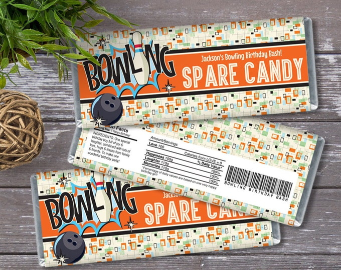Bowling Party Candy Bar Wrappers - Bowling Birthday, Bowling Favor, Party Favor, Orange/Blue | INSTANT Download Printable PDFs