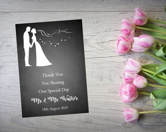 Personalised Wedding Thank You Cards with Matching Envelopes Pack Of 10 TY98