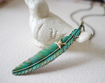 Feather Necklace. Large Teal Blue Verdigris Patina Feather, Swallow Bird Necklace, Boho Bohemian Jewelry, Gift for Her, Christmas Gift