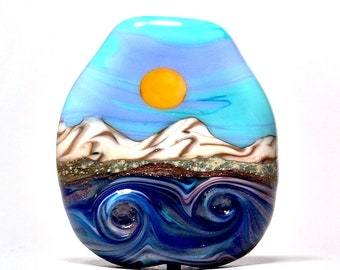 Blue Surface Waves  - Artisan Handmade Lampwork Glass Bead Focal Pendant - SRA