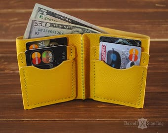 Small wallet womens Leather wallet Bifold wallet Minimalist wallet Yellow leather wallet