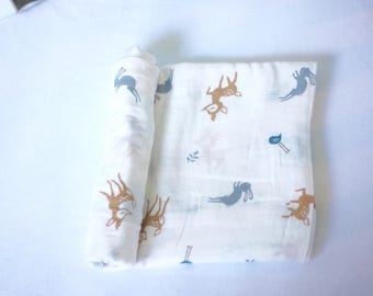 Deer Swaddle-Organic Muslin Cotton,Baby Shower Gift,Cute Baby Girl Swaddle,Newborn,Nursing/Carseat Cover,Nursery,Blanket,Hospital,Animal