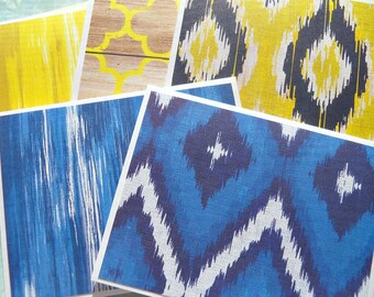 Blank Note Cards / Blank Stationery / Notecards / Bohemian Note Cards / Blue Yellow Note Cards / Modern Thank You Note Cards - ybnc