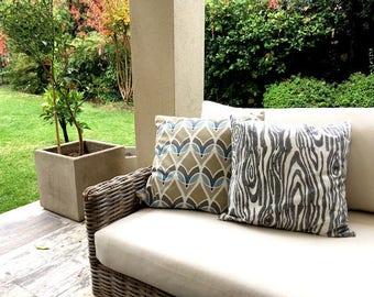 Gray Faux Bois Organic Cotton, Hand Block-Printed Throw Pillow