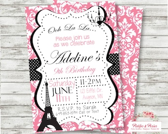 Paris Invitation - Paris Themed Birthday Invitation - Paris Party Supplies Birthday Invitation - PRINTABLE Invitation - Eiffel Tower Party