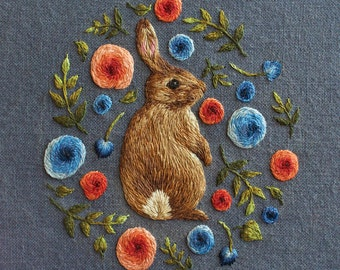 Rabbit in Flowers Print