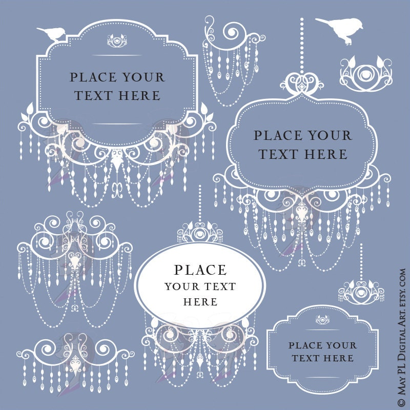 Digital Frames Png, featuring White Chandelier Frames Clipart ...