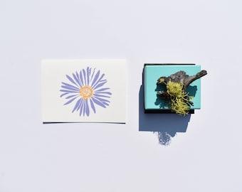 Daisy Card, Aster Card, Block Print Card, Card for Gardener, Card for Florist, Card for Grandma, Card for Mom, Floral Stationery