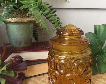 Amber glass cookie jar