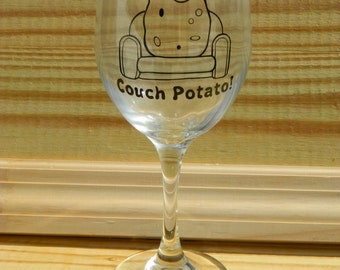 Couch Potato large Wine Glass! Super Cute gag gift! funny Wine Glass! White elephant gift Father's day gift