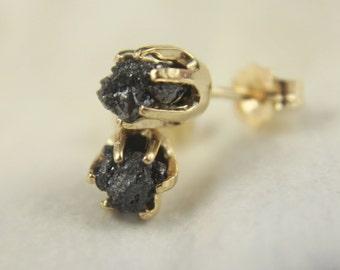 Large 14K Yellow Gold Earrings - Black Rough Diamond Earrings - Large Raw Diamond Post Earrings - 6mm Earstuds, Six Prongs