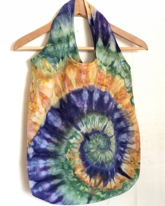 Hand Dyed Spiral Tie Dye Stuffable Shoulder Bag in Navy, Gold & Forest Green/Unisex Tie Dye Accessories/Eco-Friendly Dying