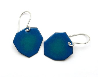 Irregular Blue Dangle Earrings with Sterling Silver Earwires - Modern Enamel Jewelry - Birthday Gift for her