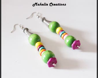Ethnic earrings for women, african earrings, long tribal earrings, bohemian earrings, statement earrings, colorful multicolor earrings