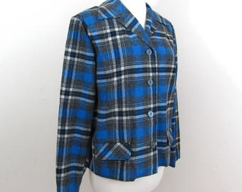Bobbie Brooks Calgary Shirt Jacket - blue wool blend plaid - 1950s -  S-M