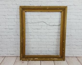 Vintage Rectangle Ornate Gesso Wood Frame Gold