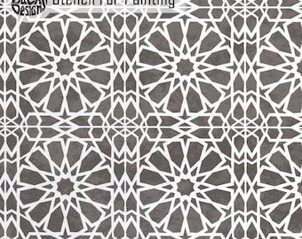 ZAGORA TILE STENCIL - Mosaic Wall Furniture Craft Floor Tile Stencil for Painting - ZAGO01