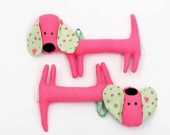 Pink Rattling Dachshund / Rattle / Stuffed Dog Sewed Premium Quality Fabric / Soft Toy / Rattle