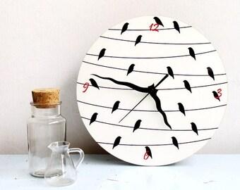 Birds on a wire wall clock,black white clock,decorative clock,large round printed clock,kitchen clock,modern clock,simple minimalist clock