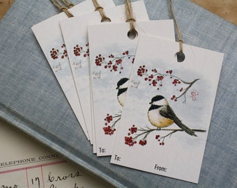 Chickadee and Berries Gift Tags for Holidays or Christmas, Winter Bird with Winter Berries, Sets of 6, 12, 24 or 48