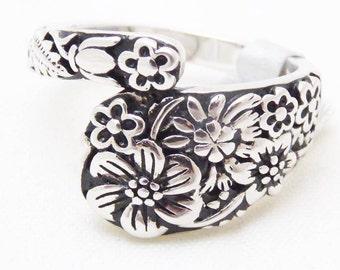 Anneau de cuillère, wrap style, motif floral, 925 argent, taille 7