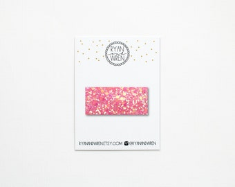 Candy pink glitter snap clip