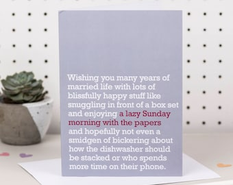 A Lazy Sunday Morning With The Papers - Wedding Card