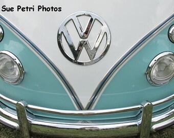 Vw Van, Fine Art Photograph, Vintage Vw Van, Aquamarine, Silver, White, Vintage Vw Bus Photos, Automotive Photos, Car Photos, Classic Cars