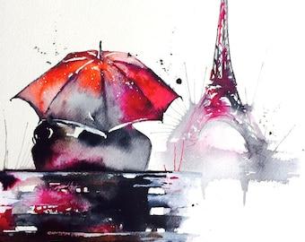 Love Paris Romantic Travel Original Watercolor Painting - Series of Wanderlust - Paris Red Umbrella- Valentine's Day Gift