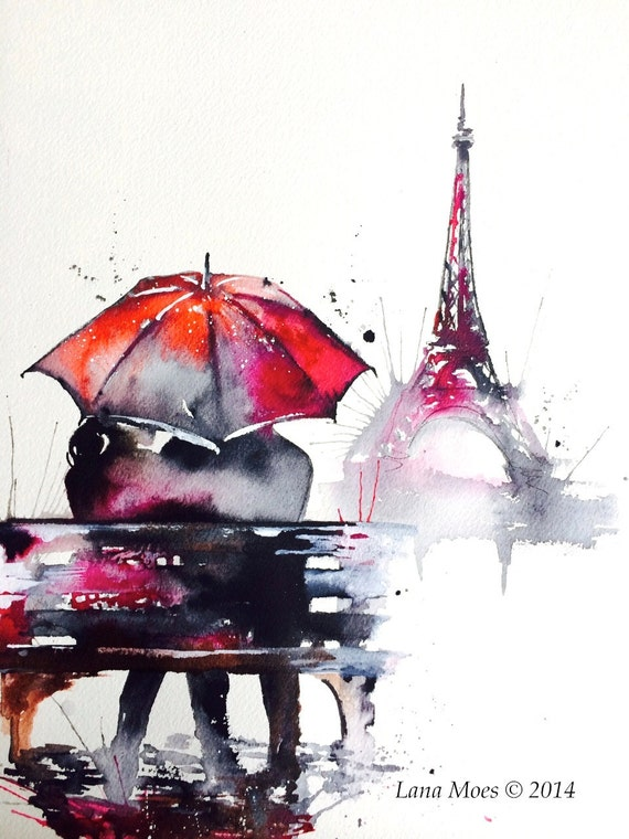New Love Paris Romantic Travel Original Watercolor Painting EF31
