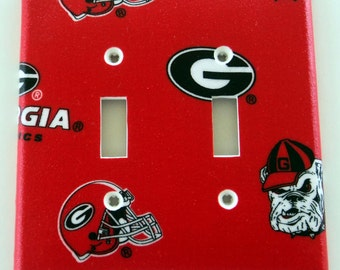 University of Georgia Bulldogs Print Double Toggle Light Switch Plate Cover