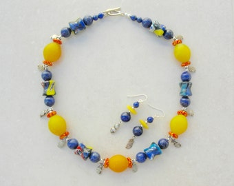 """Yellow & Blue Cultural Mix, 5 African """"Egg"""" Beads, 6 Millefiori Face Beads, Paisley Charms from India, Silk Road Necklace Set,SandraDesigns"""