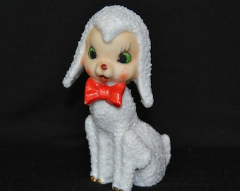Vintage 1950s Ceramic Lamb Figurine with Red Bow Tie Made in Japan