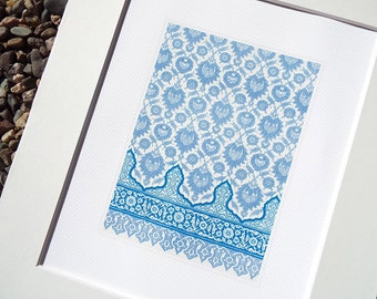 Moorish Tile Pattern 2 in Soft Blue Chambray & Cream Archival Quality Print