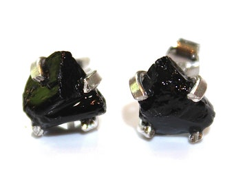 Large Raw Black Tourmaline Stud Earrings Organic Earring Black Tourmaline Silver Tourmaline Prong Set Earrings Raw Gems Crystal