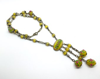 Vintage Czech Necklace made of Steel with Jet Glass, c. 1920-1930