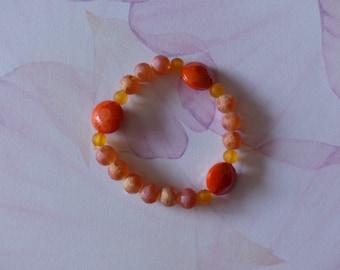 Elastic bracelet frosted orange glass beads