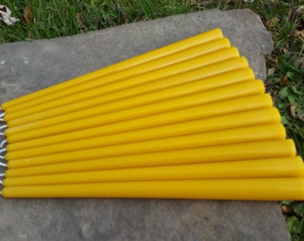 "12 - 100% Beeswax  12"" Round Taper Candles  - Free Ship! -"