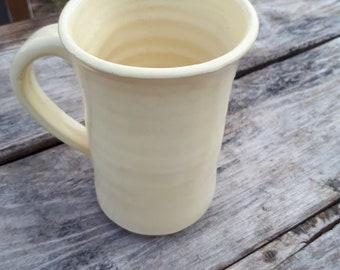 Pottery coffee mug holds 10 ounces in soft butter yellow for Spring modern clean elegant