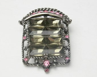 Midnight Magic Pink Rhinestone Smokey Panel Stones 1950's Sarah Coventry Mid Century Costume Jewelry Vintage Brooch Pendant Gift For Her
