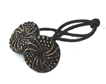 Ponytail Holder Hair Accessory - Swirling Motif in Black and Gold Vintage Glass Buttons