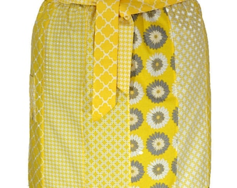 Woman's Yellow apron - Plus Size Half Apron - Cotton Half Apron - Grey Yellow Apron - Womans Half Apron - Waist Apron