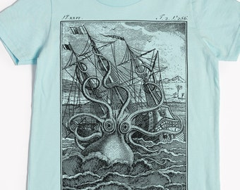 Octopus Shirt - Kids' T-shirt - Children's Shirt - Screen Printed Octopuses - Kraken Tee - Vintage Ship - Children's Gift Release the Kraken